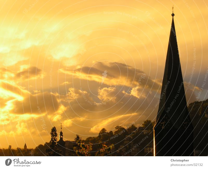 Clouds Mountain Moody Religion and faith Baden-Wuerttemberg Church spire Heidelberg Oil painting