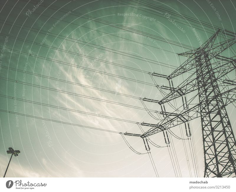 mightily Cable Technology Advancement Future Energy industry Renewable energy Energy crisis Line Tall Above Power Might Fear of the future Arrogant High spirits