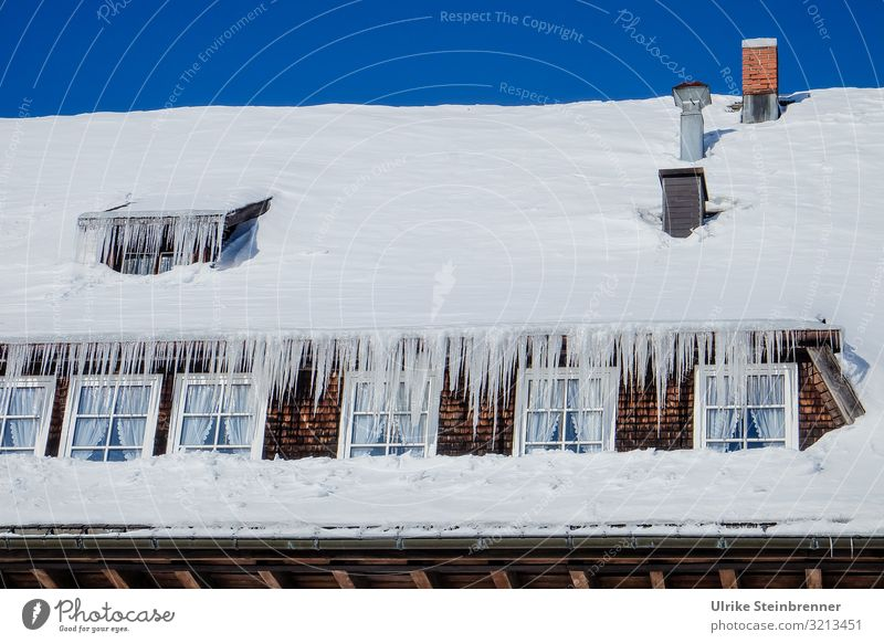 eaves noses Trip Snow Winter vacation House (Residential Structure) Sky Cloudless sky Beautiful weather Ice Frost Mountain Black Forest Village Hut Window Roof