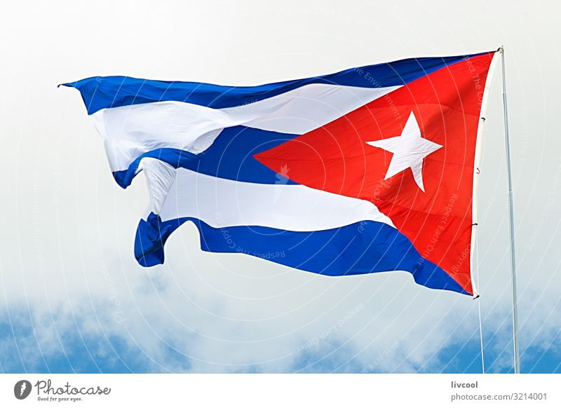 cuban flag waving under a cloudy sky II Sky Vacation & Travel Old Blue Beautiful White Red Clouds Street Lifestyle Tourism Trip Line Island To enjoy