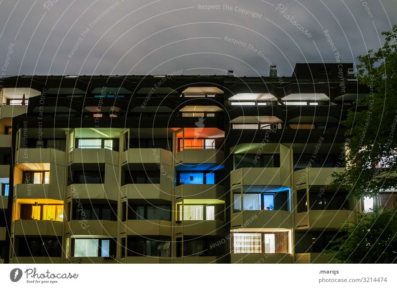 Stay Home Living or residing Night Apartment house Building House (Residential Structure) Facade Architecture Town Settlement Inhabited Blue Yellow Green Colour