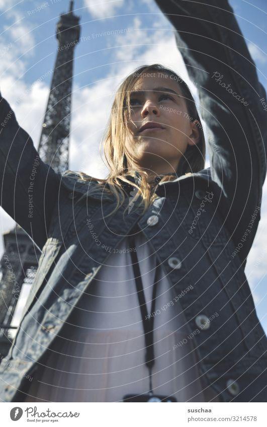 selfie in paris (2) Child Girl Vacation & Travel Trip Town Paris Eiffel Tower France Foreign countries Tourist Tourism Selfie Photography Cellphone Camera Arm