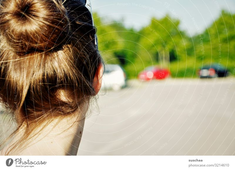 neck and bun Head Back of the head Hair and hairstyles Chignon Nape Neck Girl Child teenager Street Town Car Tree Summer beautiful day Shallow depth of field