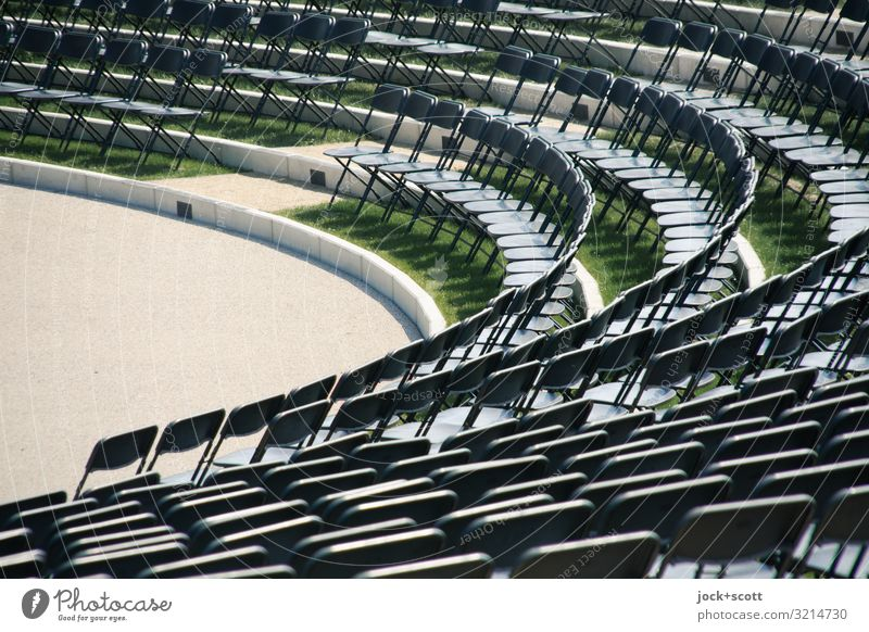 Row or Rank Design Amphitheatre Folding chair Row of seats Free Many Orderliness Accuracy Equal Round Clear Abstract Structures and shapes Neutral Background