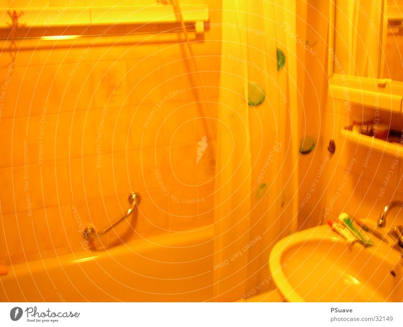 bathrooom Bathroom Bathtub Yellow Shower curtain Living or residing