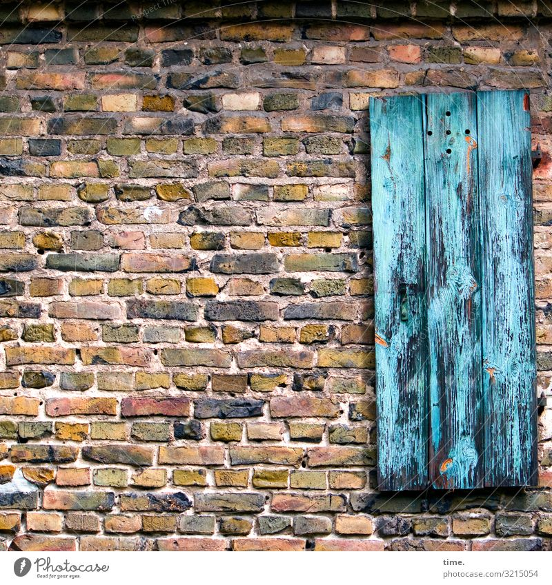 blue motion Brick brick wall Facade detail Building material Surface discovery Wall (barrier) Wall (building) Shutter window wing Stone Wood Old Weathered