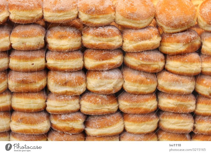 I love Berliners Food Dough Baked goods To have a coffee Fat Fragrance Delicious Brown Yellow Gold Orange White Donut Stack Sugar Sweet Round Airy flabby Candy