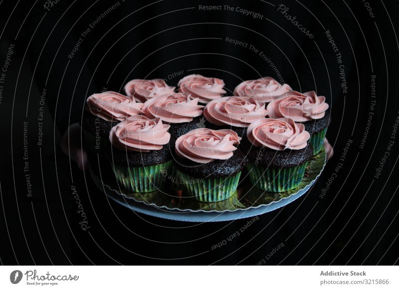 Cupcakes with pink frosting composed on plate cupcake cream sweet rose pastry food gourmet homemade cuisine delicious bakery dessert tasty biscuit snack fresh