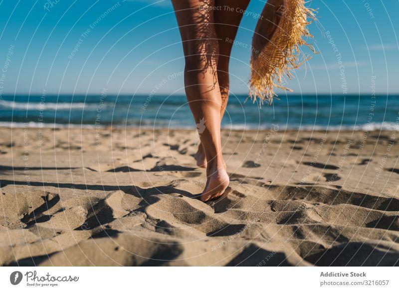 Woman legs on sandy beach woman crop anonymous unrecognizable horizontal back view swimwear hat water walking ocean summer enjoying leisure body happy slim