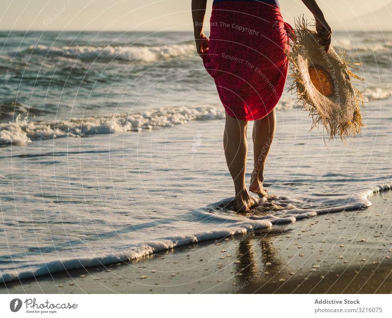 Woman with pink pareo on sandy beach woman crop anonymous unrecognizable horizontal back view swimwear hat water walking ocean summer enjoying leisure body