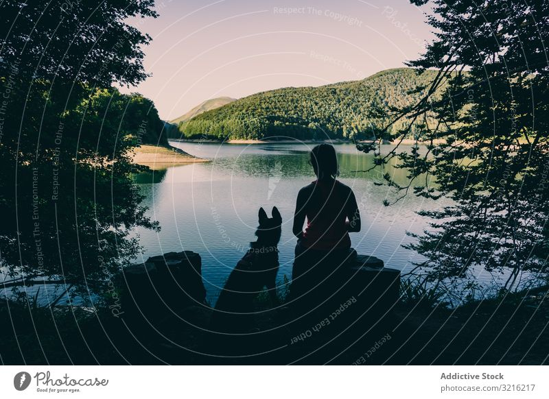 Woman with dog resting against beautiful lake woman silhouette admiring traveler tourism hiking picturesque forest summer day female pet animal friendship