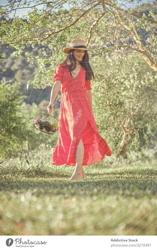 Woman in red dress in summer garden with basket of fruits woman cheerful attractive walking young beautiful lifestyle fresh female natural organic green nature