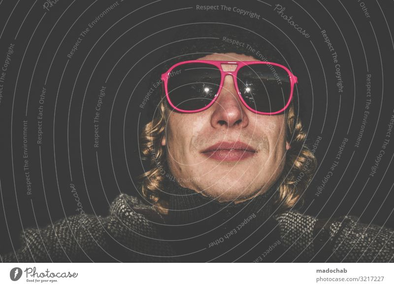 Portrait young man hip with pink sunglasses Lifestyle Night life Entertainment Human being Masculine Young man Youth (Young adults) Man Adults 1 Fashion