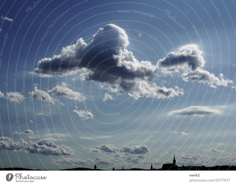 Free floating Environment Nature Landscape Sky Clouds Horizon Beautiful weather Bautzen Small Town Downtown Skyline Church Dome Hang Together Large Above