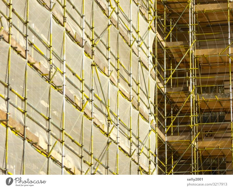overcast... House (Residential Structure) Wall (barrier) Wall (building) Hang Scaffold Construction site Redecorate Drape Scaffolding Cladding Facade