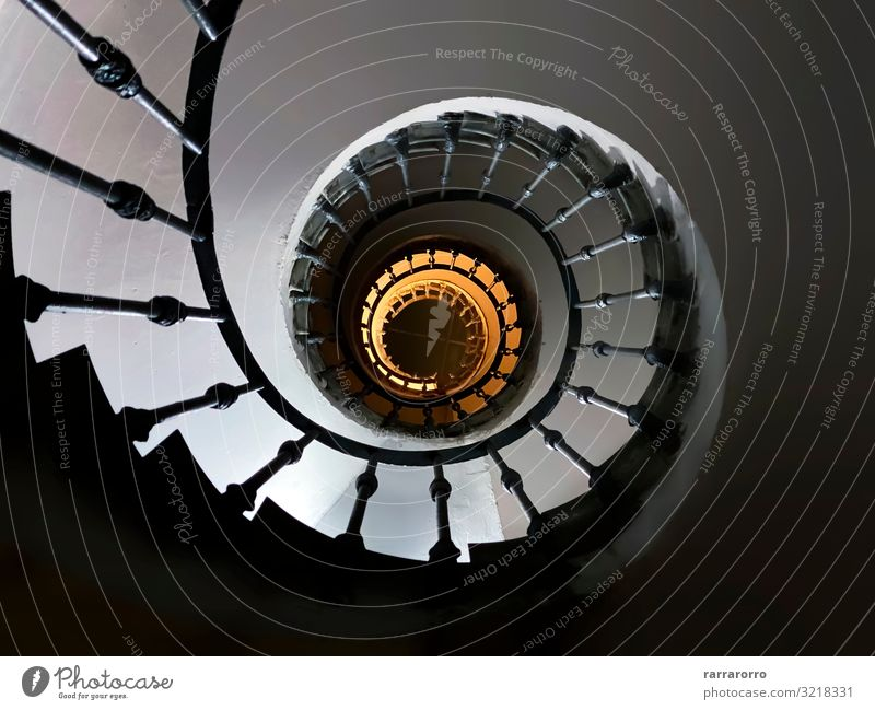 ancient spiral staircase seen from below Design House (Residential Structure) Decoration Bottom Art Building Architecture Stairs Metal Steel Old Tall