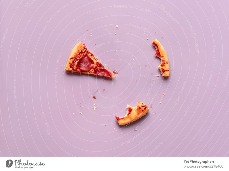 One pizza slice and leftovers. Salami pizza piece, crust scraps Sweet Dinner Home-made Pizza Italian Consumption Minimal Sliced Mozzarella Portion Eaten