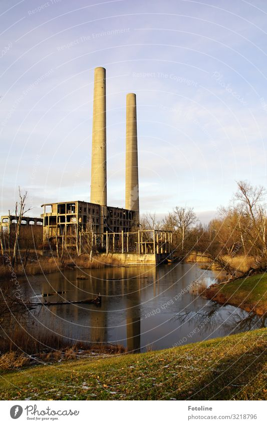 Old power plant Environment Nature Landscape Plant Elements Earth Water Sky Clouds Winter Tree Grass Meadow Lake Deserted House (Residential Structure)