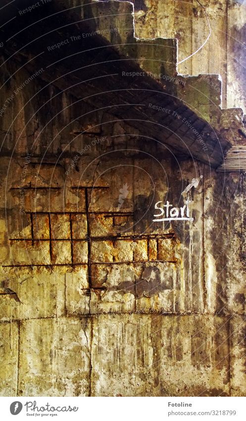 launch Industrial plant Factory Ruin Wall (barrier) Wall (building) Stairs Sign Characters Old Brown Black lost places Decline White Arrow Stone Tall