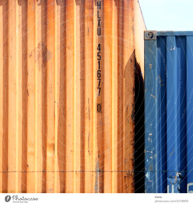 togetherness Workplace Logistics Services Container Storage Storage area Bulge Metal Characters Digits and numbers Line Stripe Together Bright Tall Maritime