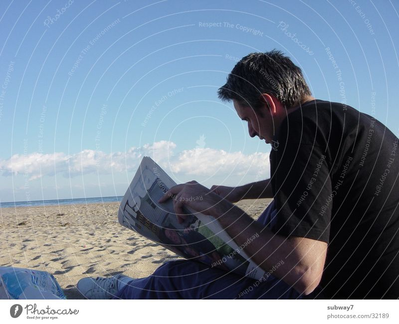 reader Man Reading Beach Ocean Vacation & Travel Spain Reader Newspaper Magazine Clouds Coast Water Sand Sun Sky