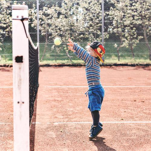 tennis Sports Masculine Child Boy (child) Infancy Life 1 Human being 3 - 8 years Sneakers Cap Playing Jump Blue Red Joy Joie de vivre (Vitality) Tennis