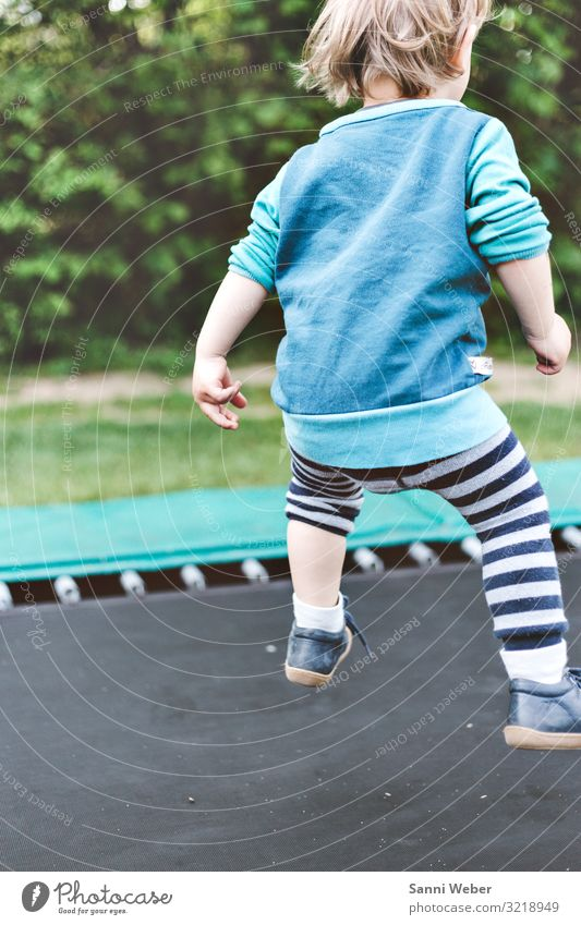 Trampoline jumping Human being Masculine Boy (child) Infancy 1 3 - 8 years Child Nature Summer Beautiful weather Plant Tree Bushes Foliage plant Park Forest