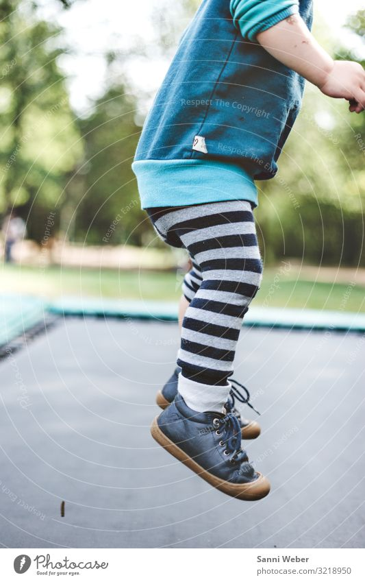 Trampoline jump 1 Sports Human being Masculine Child Boy (child) Infancy Life Legs 3 - 8 years Nature Summer Beautiful weather Tree Foliage plant Park Forest