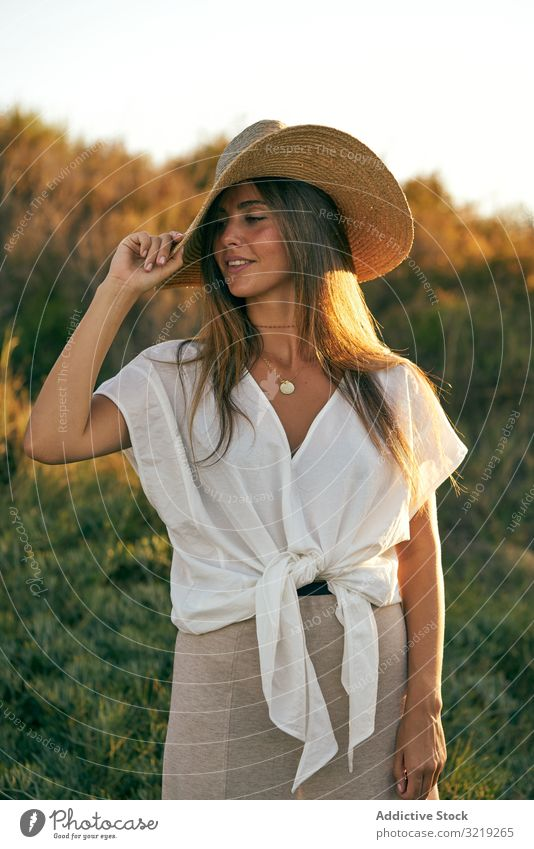 Beautiful young woman looking away model natural smile portrait beautiful happy boho attractive casual charming style pretty sunlight summer female sensual
