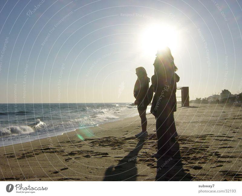 Woman Human being Sun Ocean Beach Vacation & Travel Sand Coast Europe Leisure and hobbies Spain Barcelona Beige Peoples Mediterranean sea Bathing place