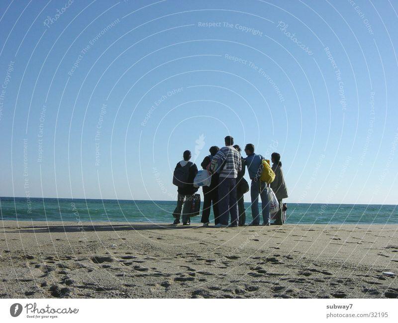 Woman Human being Sun Ocean Beach Vacation & Travel Group Sand Coast Europe Leisure and hobbies Spain Barcelona Beige Peoples Mediterranean sea