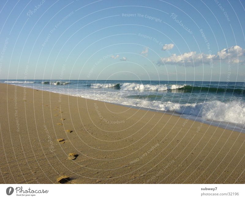 Sky Sun Ocean Summer Beach Vacation & Travel Calm Relaxation Sand Waves Coast Hiking Going Europe To go for a walk Leisure and hobbies