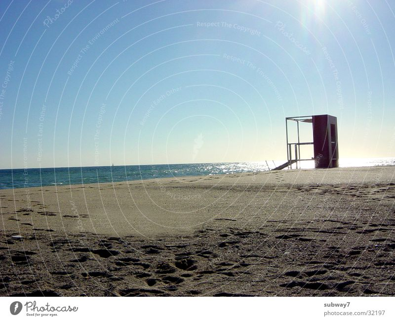 baywatch Beach Ocean Lifeguard Watch tower Vacation & Travel Spain Summer Horizon Europe Coast Water Mediterranean sea Sun Sand Hut Sky Bay watch