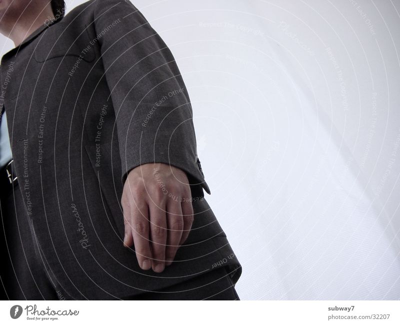 Man Hand White Gray Work and employment Room Time Stand Profession Jacket Pants Services Suit Employees & Colleagues Tie Partially visible