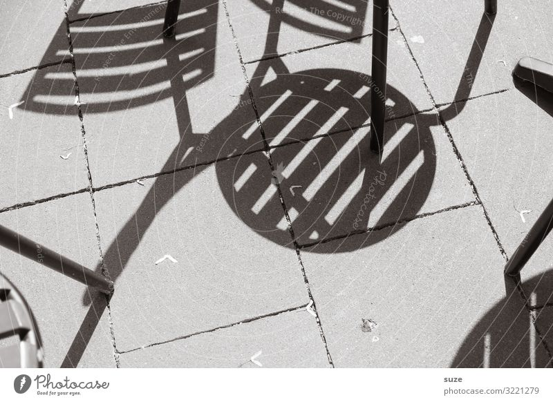 sit-in Summer Chair Places Concrete Sit Wait Simple Dry Gray Shadow play Café Ground Chair leg Chaos Black & white photo Exterior shot Detail Abstract Deserted