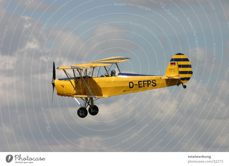 Double-decker in cloud flight Airplane Clouds Aviation Double-decker bus Old Stampe