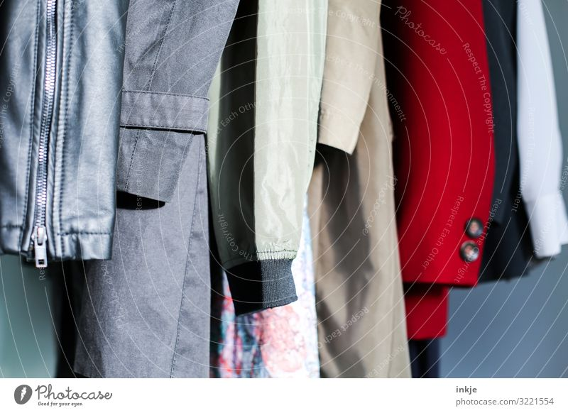 Sleeves Fashion Clothing Jacket Coat Hang Authentic Side by side Row Second-hand shop Vintage Difference Colour photo Multicoloured Interior shot Close-up