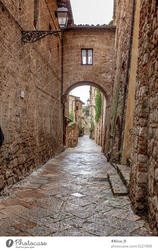 Alley in Volterra Tuscany Italy Vacation & Travel Europe Village Small Town Old town Deserted House (Residential Structure) Wall (barrier) Wall (building)