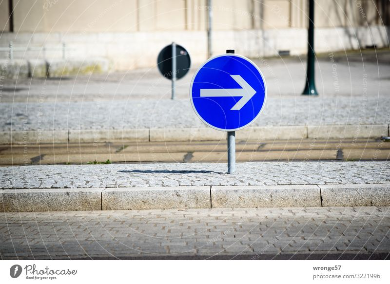 make a turn to the right Transport Street Crossroads Road sign Round Town Blue Brown White Road traffic Arrow Right Traffic circle Urban traffic regulations