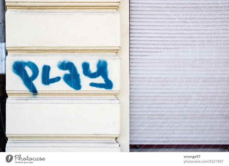 play House (Residential Structure) Wall (barrier) Wall (building) Facade Characters Graffiti Town Blue Gray Daub Playing Roller shutter Closed Colour photo