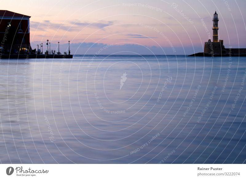 Evening atmosphere in Chania, Crete Harmonious Meditation Coast Bay Ocean Mediterranean sea Port City Harbour Tower Lighthouse Blue Violet Pink Red Black Serene