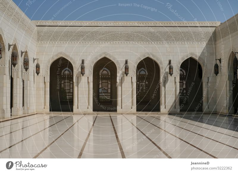 Sultan Qaboos Mosque in Muscat Style Art Work of art Oman Palace Interior courtyard Archway Tourist Attraction Architecture Ornate Exceptional Clean Gold White
