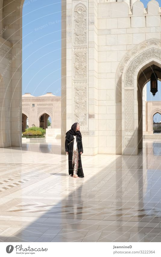 Sultan Qaboos Mosque in Muscat Style Vacation & Travel Adventure Freedom Summer Woman Adults 1 Human being 30 - 45 years Work of art Architecture Oman Palace