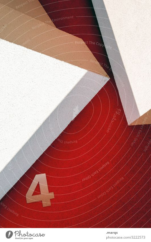 4 four digit Red White Wall (building) Sharp-edged Modern Architecture Facade House number Abstract Design Exceptional Style Illustration Geometry Minimalistic