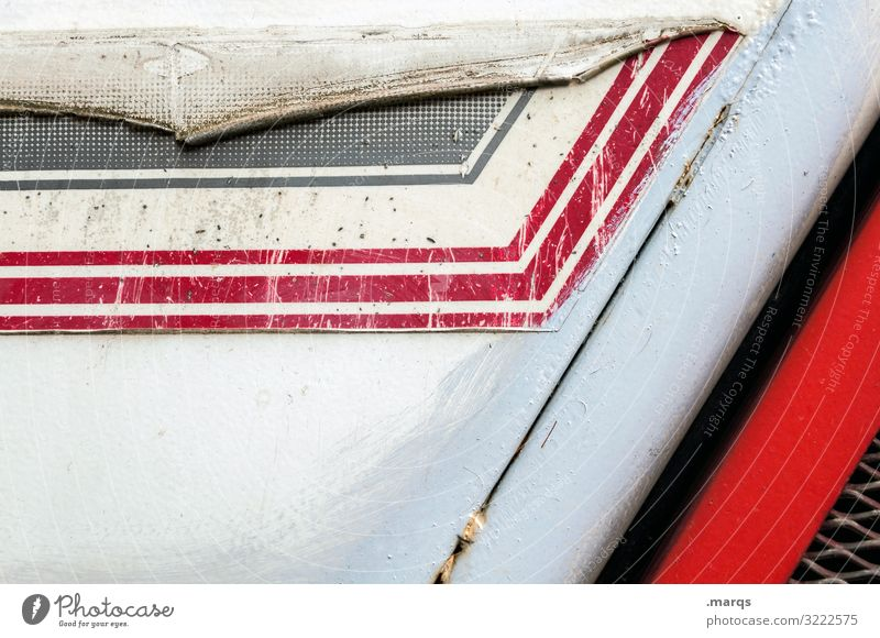Worn commercial vehicle Utility vehicle Stripe Red White Black Scratch mark Style worn-out Dirty Metal Background picture Plastic Pattern Abstract Design