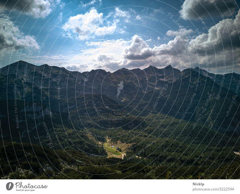 Julian Alps, Mountain Vogel, Triglav National Park, Slovenia Tourism Trip Expedition Hiking Sky Clouds Sun Beautiful weather Forest Hill Rock Peak