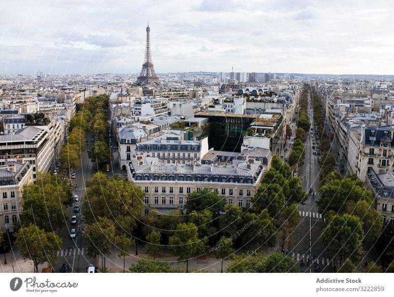 Picturesque cityscape of Paris paris architecture scenic picturesque eiffel tower arc de triomphe france skyline view of paris aerial height observe urban