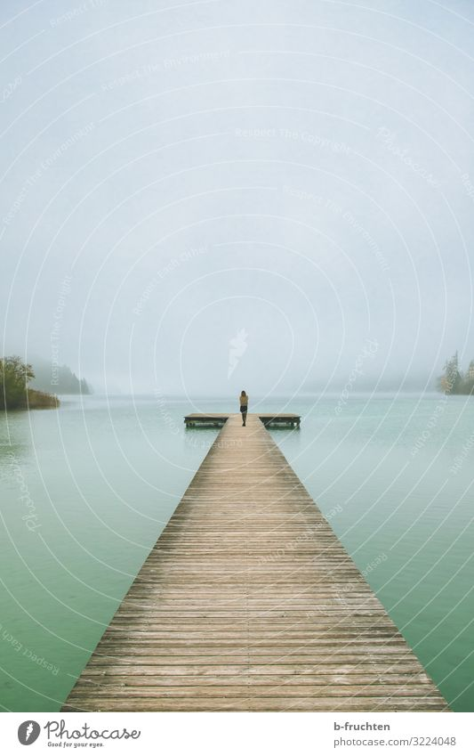 long jetty in the fog 1 Human being Nature Landscape Sky Autumn Bad weather Fog Lakeside Looking Stand Wait Change Lanes & trails Target Contentment Future
