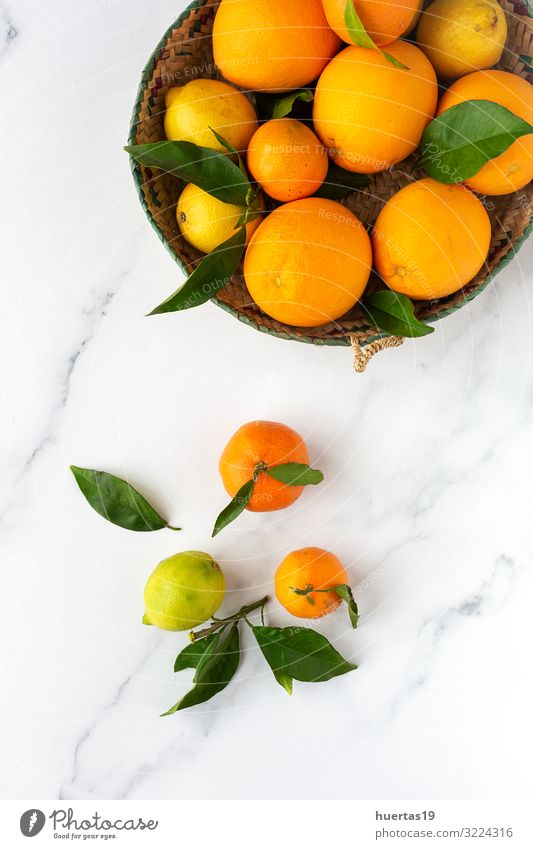 oranges, tangerines and lemons seen from above Food Vegetable Fruit Orange Dessert Breakfast Vegetarian diet Diet Crockery Lifestyle Style Healthy Eating Fresh