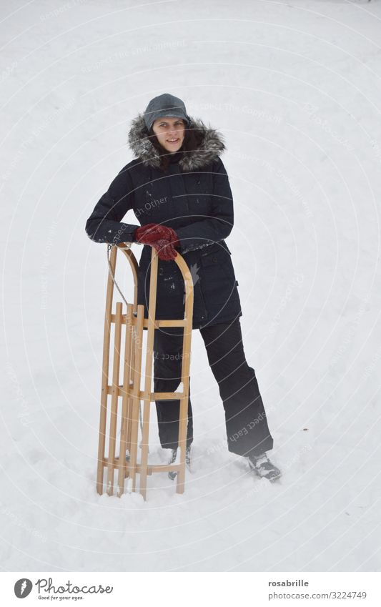 Sleigh ride - woman in snow with wooden sleigh Joy Leisure and hobbies Winter Snow Christmas & Advent Vacation & Travel Winter vacation Sports Winter sports